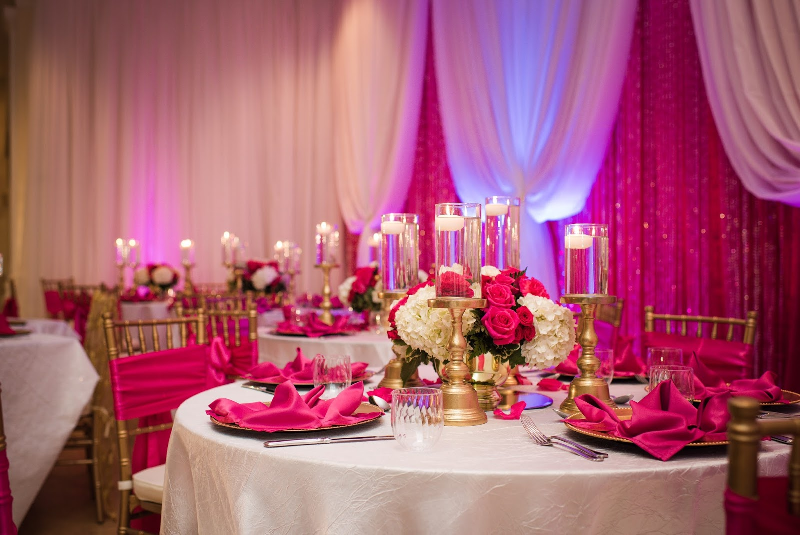 pink gold hall decor event banquet celebrity events reception fuchsia llc champagne posted brides heaven