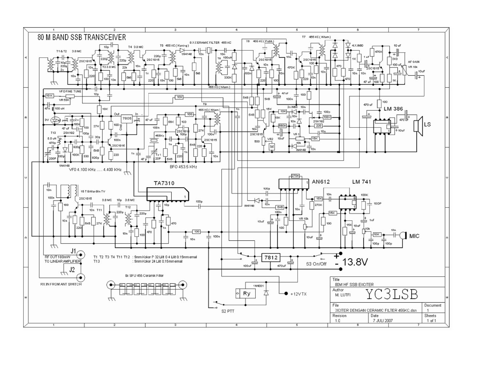 Radio Tengkorak Homebrew Qrp 80m Band Transceiver If 455 Kc