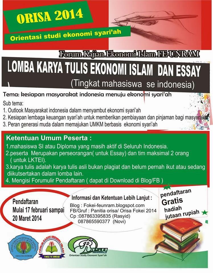 Lomba Karya Tulis Ekonomi Islam Dan Essay Orientasi Studi Ekonomi