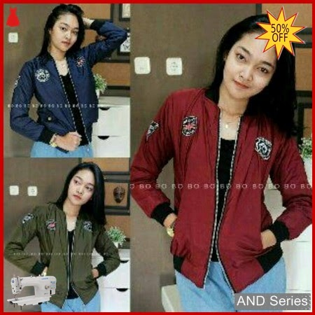 AND093 Jaket Wanita Bomber Patch Murah BMGShop