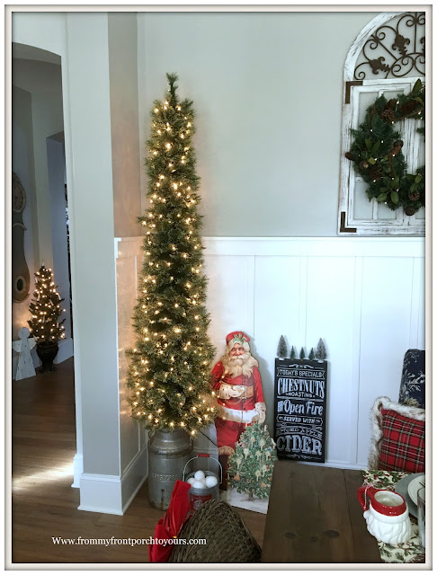 Pencil Tree-Vintage Milk Can-French Country Farmhouse Christmas Dining Room-From My Front Porch To Yours