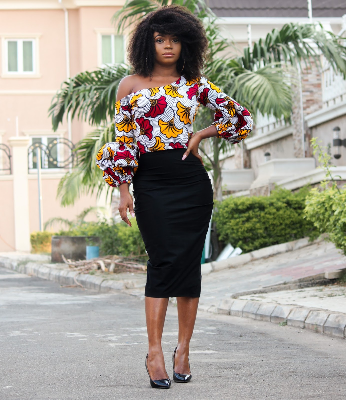 ANKARA TOP + BLACK MIDI SKIRT - African 'Fan' Print Skewed Neckline Top with Black Midi Skirt
