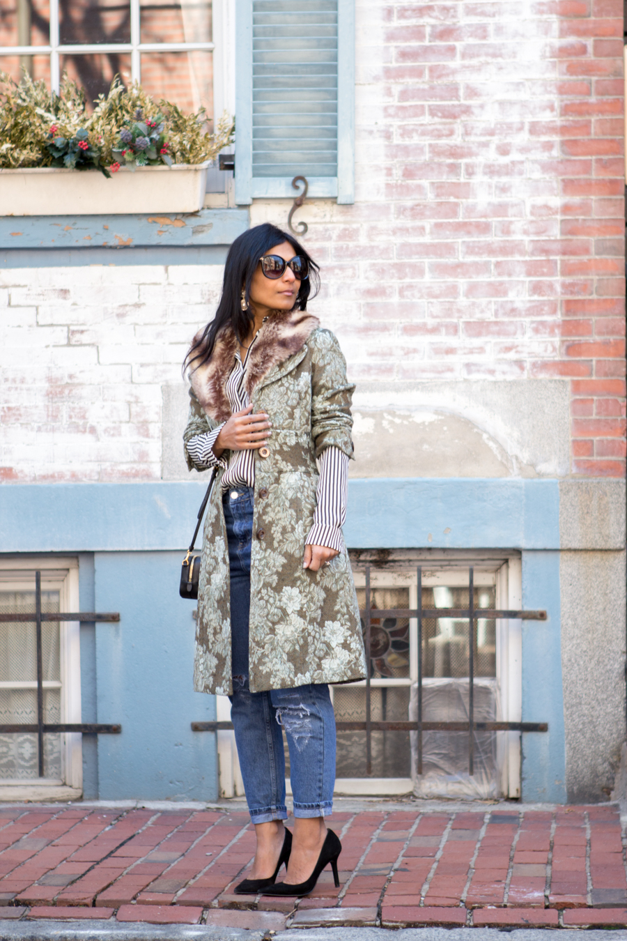 floral jacket, jacquard coat, statement coat, spring style, florals, green coat, mom jeans, black suede pumps, under $100, striped shirt, striped blouse, black and white stripes, eclectic, feminine style, easy glam, petite fashion, boston street style, mom style, mommy style, mom glam, South End, Bay Village
