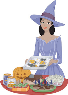 Clipart image of a woman in a witch's hat making food