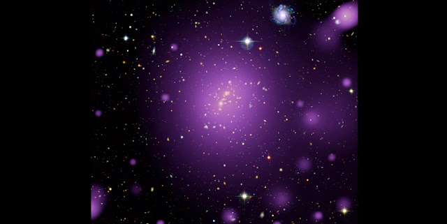The picture shows the galaxy cluster XLSSC 006. This composite image results from the combination of smoothed X-ray data from the XXL survey (purple) together with optical and infrared observations from the Canada-France-Hawaii Telescope. © ESA/XMM-Newton (X-rays); CFHT (optical); XXL Survey