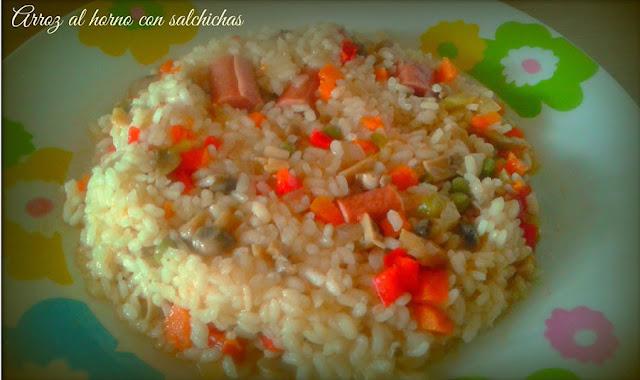 arroz al horno con salchichas