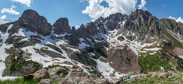 Gore Range mountains deep in the Eagles Nest Wilderness with Willow Lake, Mount Silverthorne, and the Zodiac Ridge