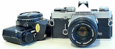 Olympus OM-1n, in chrome and black