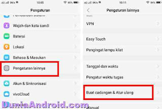 menu vivo y71 reset dan cadangan data
