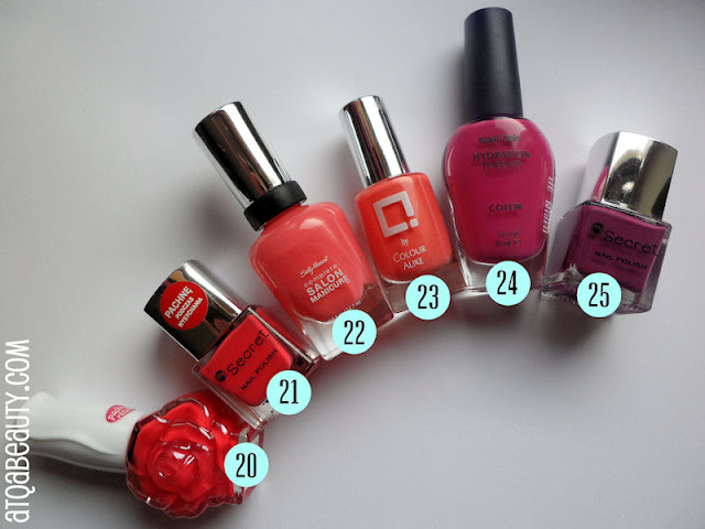 Wibo, Różany lakier do paznokci, 4 :: My Secret, Nail Polish, 142 Raspberry :: Sally Hansen, Complete Salon Manicure, 520 Shrimply Devine :: Colour Alike, Q, 102 :: NailTek, Hydration Therapy Color, Dose-a-Rosa :: My Secret, Nail Polish, 146 Purple