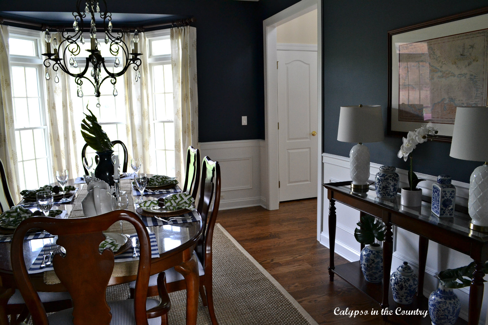 Navy Dining Room with Seagrass Rug