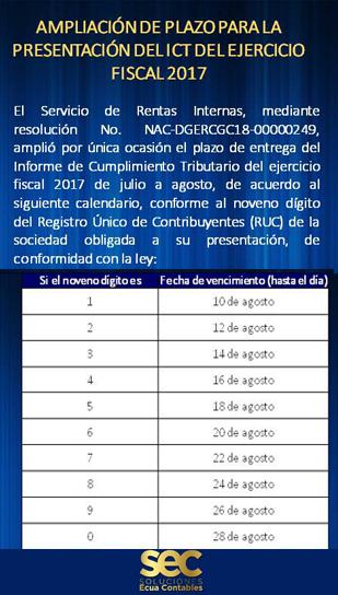 ICT: EJERCICIO FISCAL 2017, ampliación del plazo para su presentación.