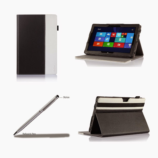ProCase Premium Folio Case with Stand for Microsoft Surface PRO 2 / Surface PRO Windows 8 Tablet, Compatible with Microsoft Keyboard, Built-in Stand with Multiple viewing Angles, bonus Stylus Pen included (Black/White) | Kindletrends