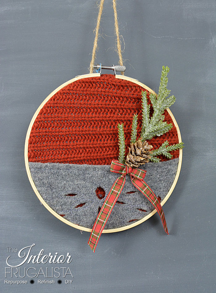 Festive Recycled Red & Grey Sweater Ornament