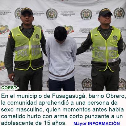 Fusagasugá: La comunidad captura a un sujeto luego de cometer un hurto