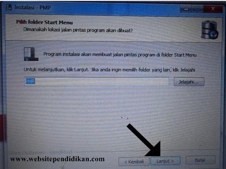 "Program instalasi akan membuat jalan pintas program di folder Start Menu, silakan klik ""Lanjut"""