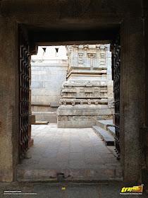Main entrance of wooden doors to Lepakshi Veerabhadra Swamy Temple Complex in Andhra Pradesh, India