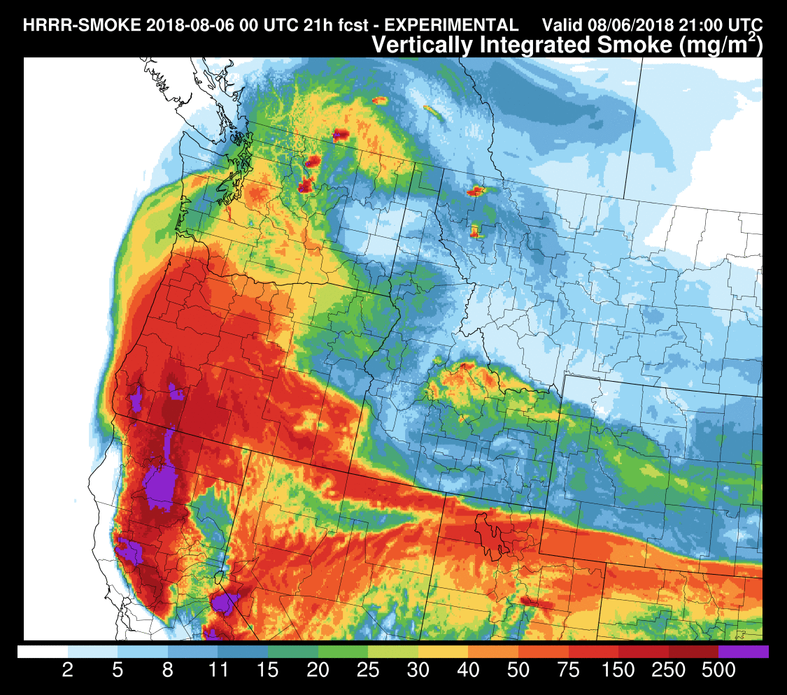 finally by 11 am on tuesday relatively dense smoke from ca and southern oregon will extend over our region our air quality at the surface will depend