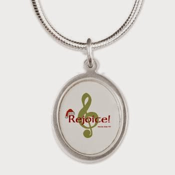 Santa Music Silver Oval Necklace