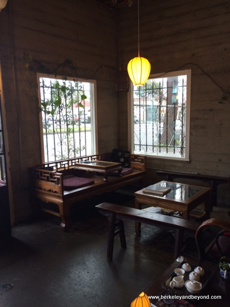 interior seating at Far Leaves Tea in Berkeley, California