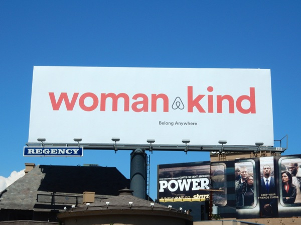 Womankind Airbnb billboard