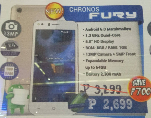 SKK Mobile Chronos Fury Spotted; 5-inch Quad Core Android M with 13MP Cam for Php2,699