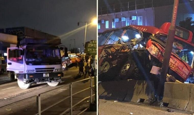 Kecelakaan Minibus Merah di Kwun Tong, Kondisi Rusak parah, Sopir dan penumpang terluka