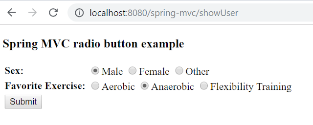 Spring MVC radiobutton tag