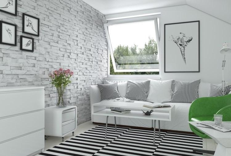 Wandgestaltung Ideen Wohnzimmer Stein