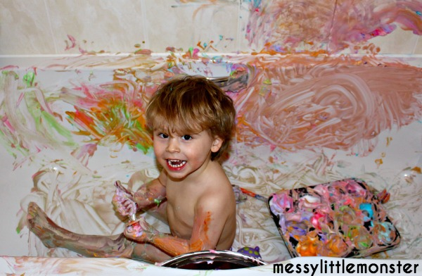 Bath painting.  A fun indoor activity for kids.