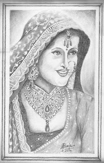 Pencil Portrait of traditional Indian Bride by Sreeja Renganath.