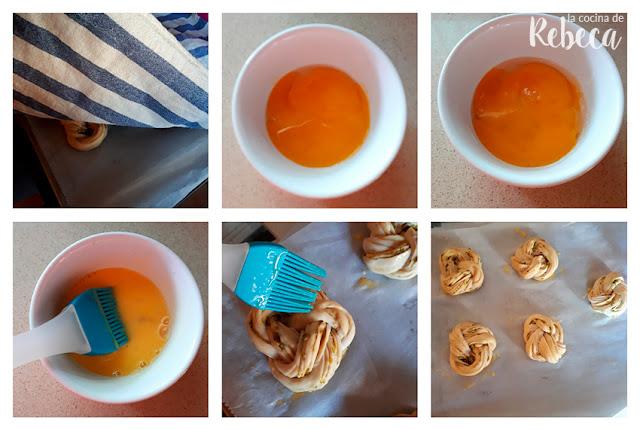 Receta de panes trenzados de mostaza y pistachos: reposo y pintado
