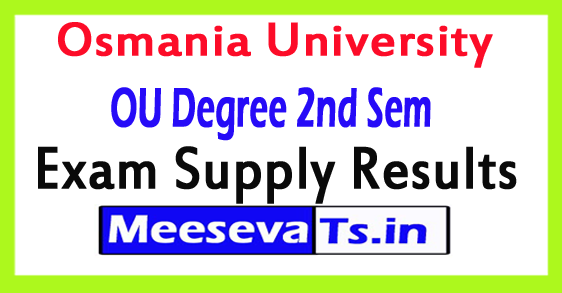 Osmania University Degree 2nd Sem Supply Results June 2017