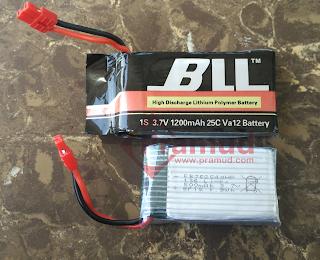 perbandingan baterai syma x5hw 500mAh dan 1200mAh