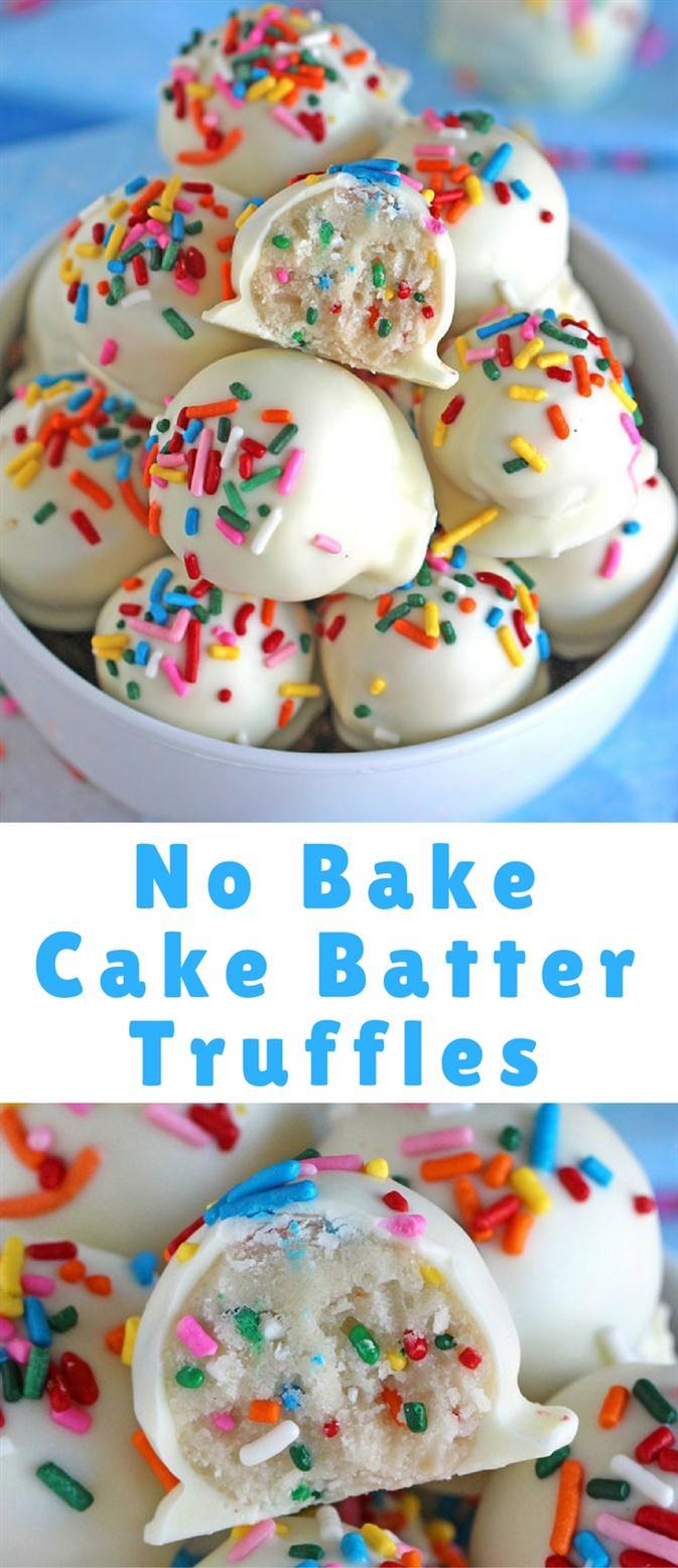 No Bake Cake Batter Truffles #Nobake #Cake #cakerecipe #Batter #Butter #Truffles #Cookies #Bites