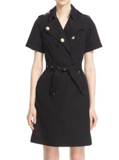 Burberry London Esters black short sleeve belted trench dress with button detail on lapels