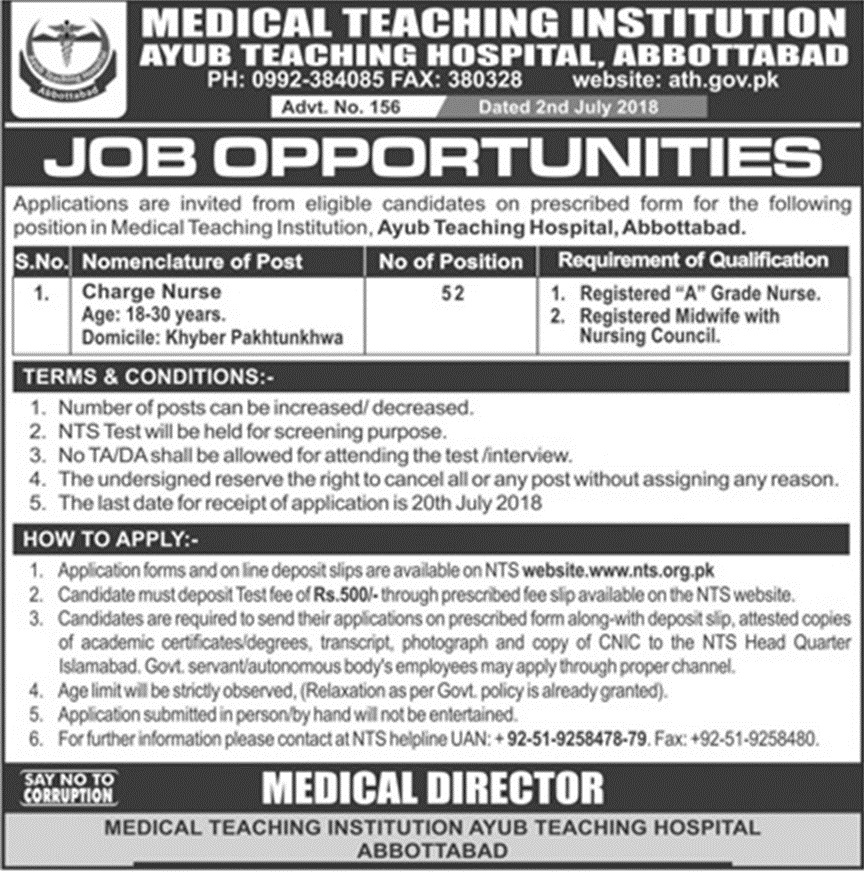 NTS Charge Nurse Jobs in Abbotabad