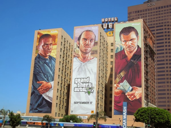 Giant Grand Theft Auto V video game billboards