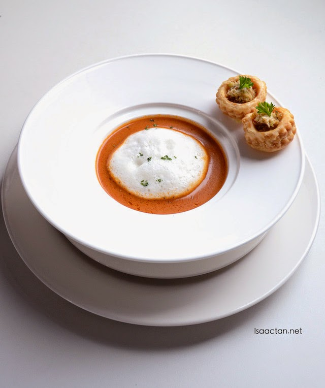 Cream of Smoky Crab Bisque with Crab vol Au Vent