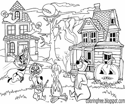 Haunted house coloring ghost town Yogi Bear printable cartoon Halloween sketching ideas for children