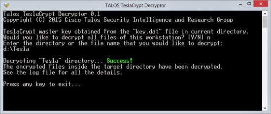 Teslacrypt Ransomware removal