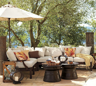 shady pottery barn patio design mixed with twin round top coffee table plus parasol  ideas