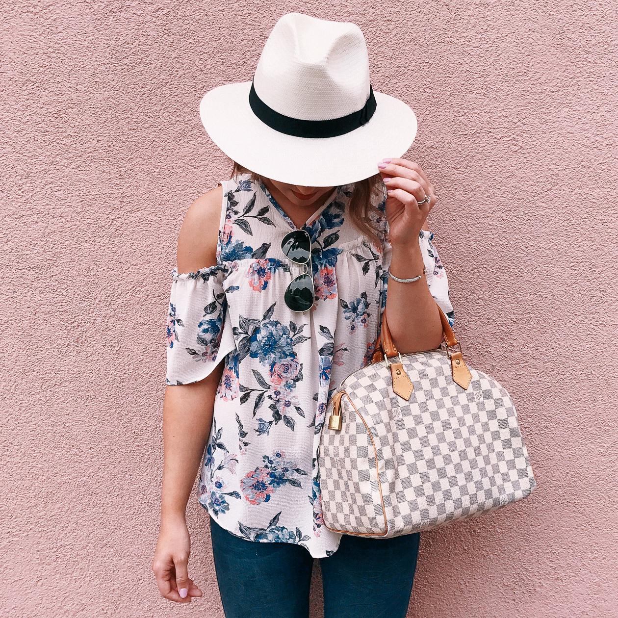 charleston, floral cold shoulder top, panama hat