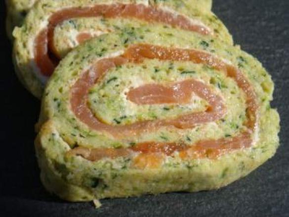 Recette roulé de courgettes au fromage et au saumon fumé