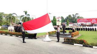 Waka Polres Kampar Pimpin Upacara Peringatan Hari Lahir Pancasila Tahun 2018 di Polres Kampar