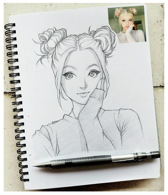 ilustraciones-retratos-de-personas-estilo-anime