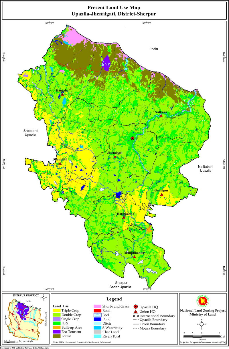 Jhenaigati Upazila Mouza Map Sherpur District Bangladesh