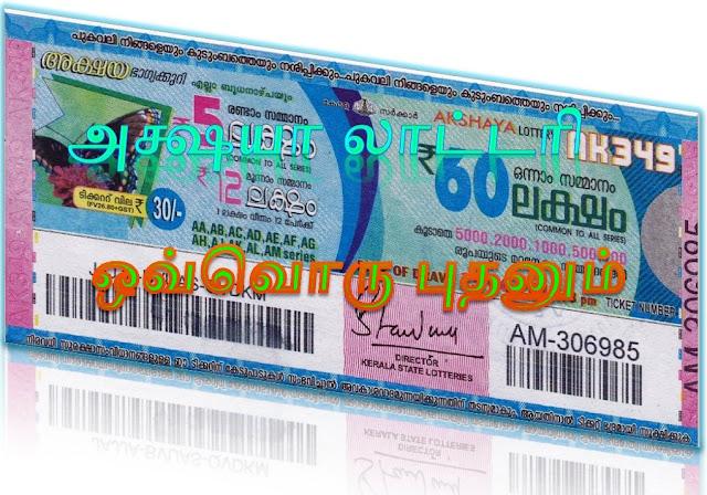 Akshaya lottery on all Wednesdays Kerala lottery result Akshaya கேரள லாட்டரி அக்ஷயா ஒவ்வொரு புதன்கிழமைகளிலும்