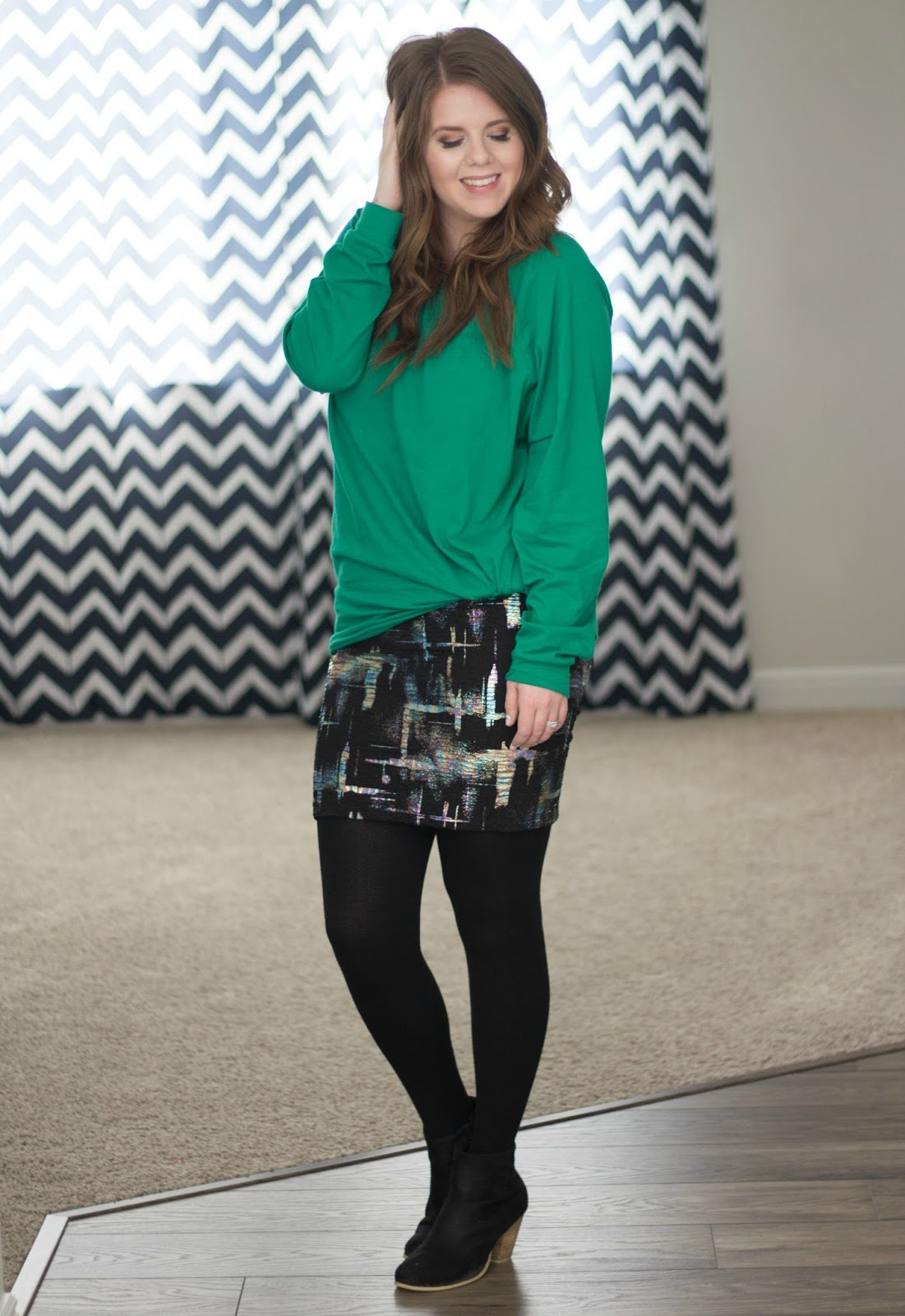 Lularoe Cassie skirt with Mint Julep Green Dolman Top