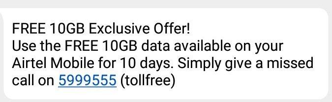 airtel 10gb free internet
